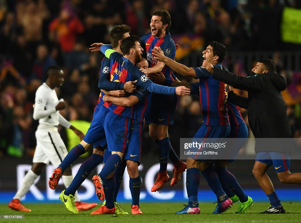 Lionel Messi,Sergio Roberto and Luis Suarez of Barcelona celebrate on the final whistle during the UEFA Champions League Round of 16 second leg match between FC Barcelona and Paris Saint-Germain at Camp Nou on March 8, 2017 in Barcelona, Spain.
