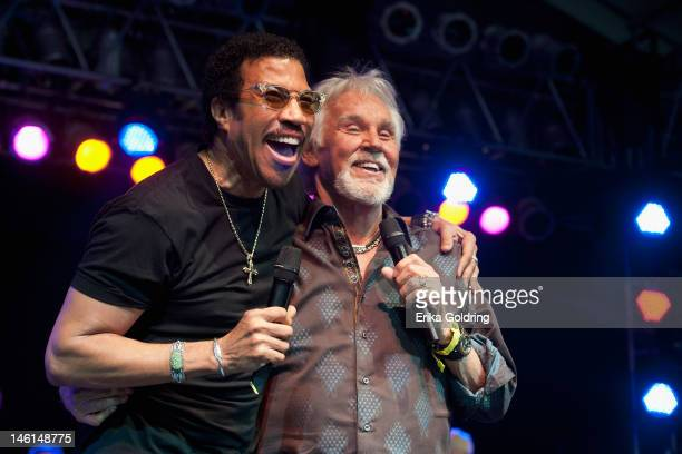 Lionel Richie and Kenny Rogers perform at The Other Tent during the 2012 Bonnaroo Music and Arts Festival on June 10 2012 in Manchester Tennessee