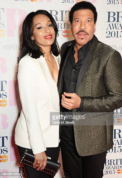 Lionel Richie and Lisa Parigi attend the BRIT Awards 2015 at The O2 Arena on February 25 2015 in London England