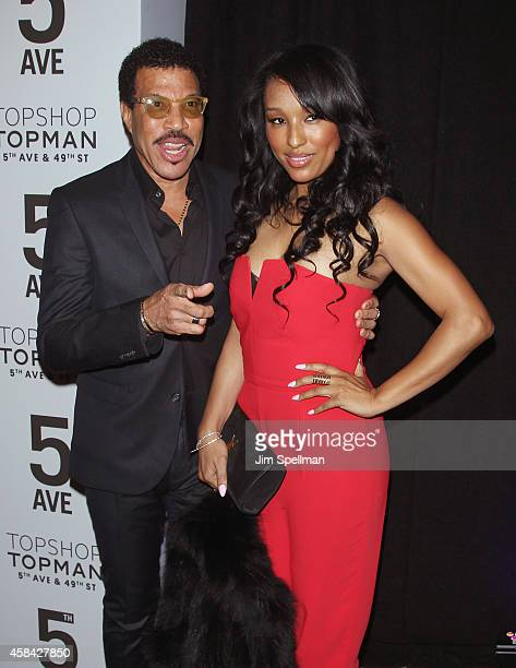 Lionel Richie and Lisa Parigi attend the Topshop Topman New York City Flagship Opening Dinner at Grand Central Terminal on November 4 2014 in New...