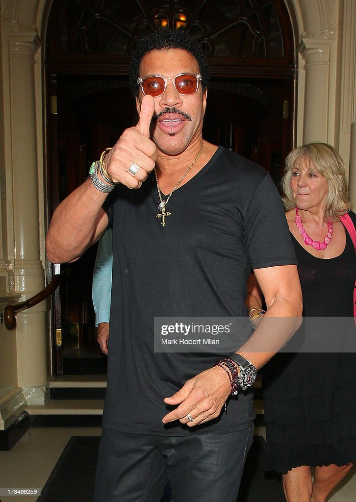 <a gi-track='captionPersonalityLinkClicked' href=/galleries/search?phrase=Lionel+Richie&family=editorial&specificpeople=204139 ng-click='$event.stopPropagation()'>Lionel Richie</a> leaving the Connaught hotel on July 14, 2013 in London, England.