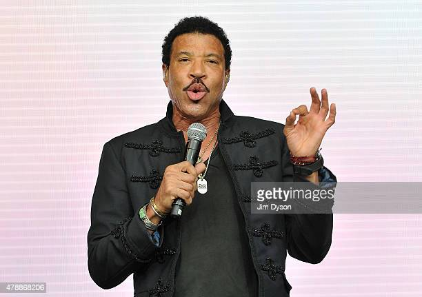 Lionel Richie performs live on the Pyramid stage during the third day of Glastonbury Festival at Worthy Farm Pilton on June 28 2015 in Glastonbury...