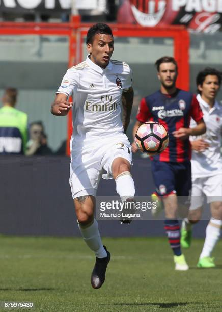 Lionel Vangioni of Milan during the Serie A match between FC Crotone and AC Milan at Stadio Comunale Ezio Scida on April 30 2017 in Crotone Italy