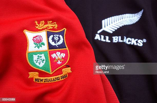 Lions and All Black jersey logos for the 2005 British and Irish Lions tour of New Zealand
