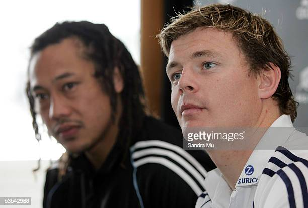 Lions Captain Brian O'Driscoll and All Black Captain Tana Umaga at the Adidas 'Last man standing' breakfast at the Maritime Museum in Auckland...