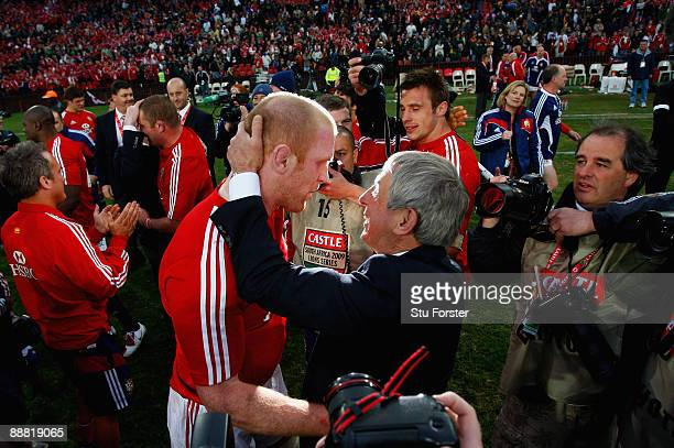 Lions captain Paul O' Connell is congratulated by coach Ian McGeechan after the Third Test match between South Africa and The British and Irish Lions...
