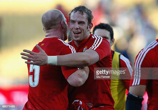 Lions captain Paul O'Connell congratulates try scorer AlunWyn Jones after the match between Royal XV and The British Irish Lions on their 2009 Tour...