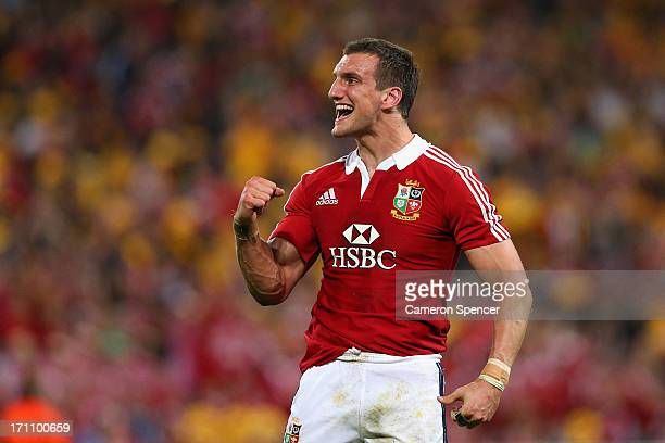 Lions captain Sam Warburton celebrates during the First Test match between the Australian Wallabies and the British Irish Lions at Suncorp Stadium on...
