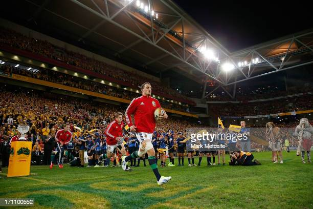 Lions captain Sam Warburton leads the team out onto the field during the First Test match between the Australian Wallabies and the British Irish...