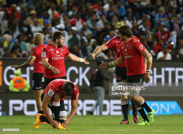 Lions celebrate during the Super Rugby match between DHL Stormers and Emirates Lions at DHL Newlands on April 15 2017 in Cape Town South Africa