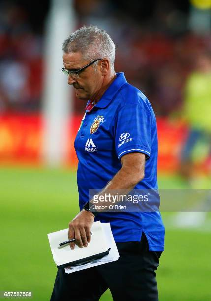 Lions coach Chris Fagan during the round one AFL match between the Gold Coast Suns and the Brisbane Lions at Metricon Stadium on March 25 2017 in...