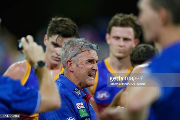 Lions coach Chris Fagan during the round six AFL match between the Brisbane Lions and the Port Adelaide Power at The Gabba on April 29 2017 in...