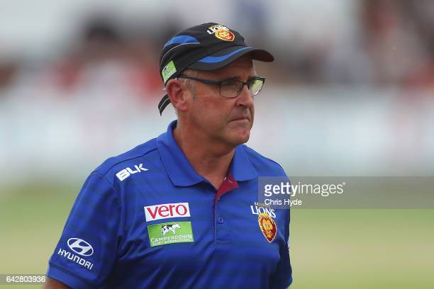 Lions coach Chris Fagan looks on during the 2017 JLT Community Series match at Broadbeach Sports Centre on February 19 2017 in Gold Coast Australia