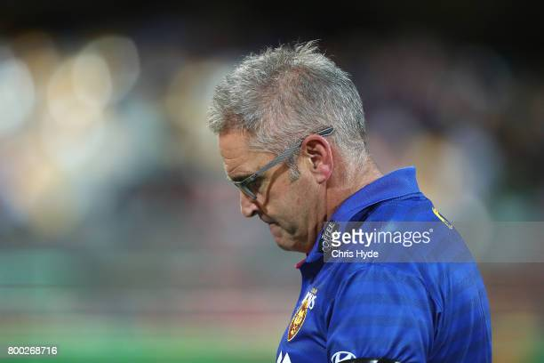 Lions coach Chris Fagan looks on during the round 14 AFL match between the Brisbane Lions and the Greater Western Sydney Giants at The Gabba on June...