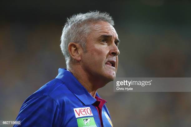 Lions coach Chris Fagan looks on during the round two AFL match between the Brisbane Lions and the Essendon Bombers at The Gabba on April 1 2017 in...