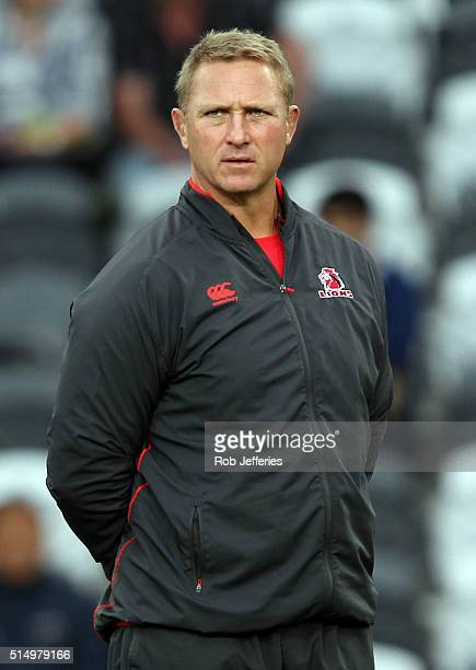 Lions coach Johan Ackermann during the round three Super Rugby match between the Highlanders and the Lions at Rugby Park on March 12 2016 in Dunedin...