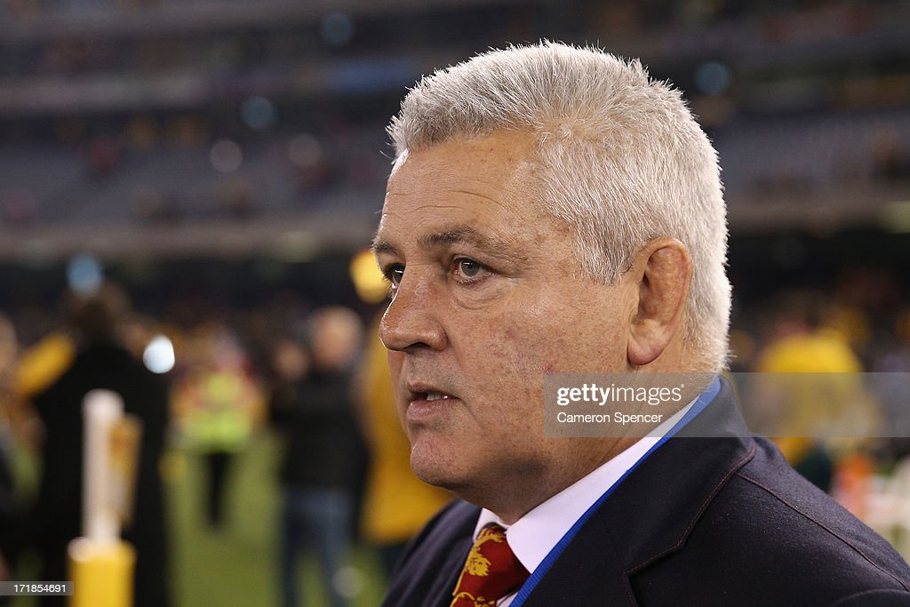 Lions coach <a gi-track='captionPersonalityLinkClicked' href=/galleries/search?phrase=Warren+Gatland&family=editorial&specificpeople=686626 ng-click='$event.stopPropagation()'>Warren Gatland</a> walks across the field after the Lions defeat in game two of the International Test Series between the Australian Wallabies and the British & Irish Lions at Etihad Stadium on June 29, 2013 in Melbourne, Australia.