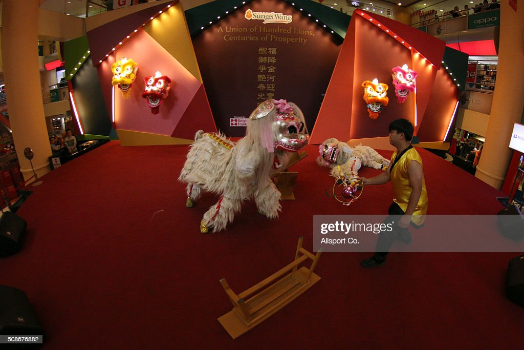 Lions Dance performance in a shopping mall ahead of Lunar New Year of the monkey celebrations on February 6, 2016 in Kuala Lumpur, Malaysia. According to the Chinese Calendar, the Lunar New Year which falls on February 8 this year marks the Year of the Monkey, the Chinese Lunar New Year also known as the Spring Festival is celebrated from the first day of the first month of the lunar year and ends with Lantern Festival on the Fifteenth day.