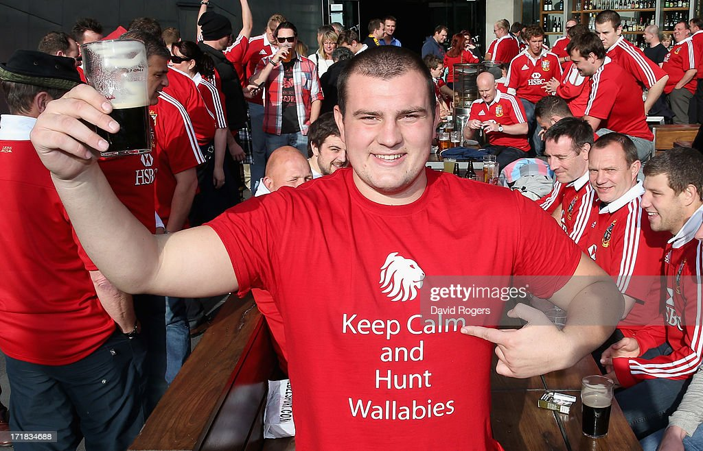 A Lion's fan, show his support for the team prior to game two of the International Test Series between the Australian Wallabies and the British & Irish Lions at Etihad Stadium on June 29, 2013 in Melbourne, Australia.