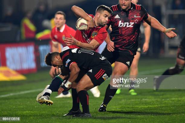 Lions fans cheer during the rugby union match between the Crusaders and the British and Irish Lions at AMI Stadium in Christchurch on June 10 2017 /...