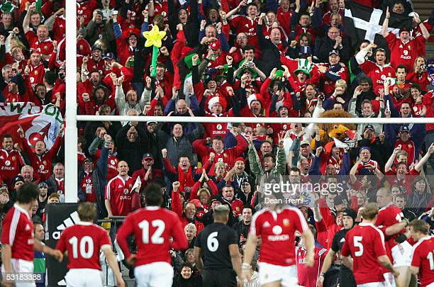 Lions fans have a moment to cheer after the Lions score the opening try the second test between the British and Irish Lions and the New Zealand All...