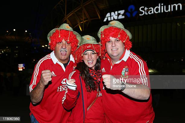 Lions fans pose prior to the International Test match between the Australian Wallabies and British Irish Lions at ANZ Stadium on July 6 2013 in...