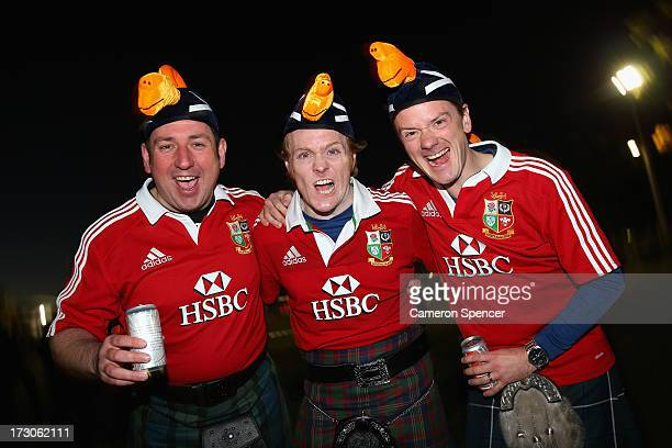 Lions fans show their colours prior to the International Test match between the Australian Wallabies and British Irish Lions at ANZ Stadium on July 6...