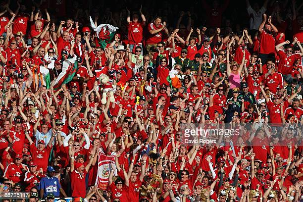 Lions fans show their support during the Second Test match between South Africa and the British and Irish Lions at Loftus Versfeld on June 27 2009 in...