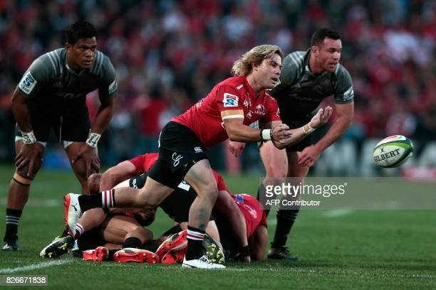 Lions Far de Klerk clears the ball during the Super XV rugby final match between Lions and Crusaders at Ellis Park Rugby stadium on August 5 2017 in...