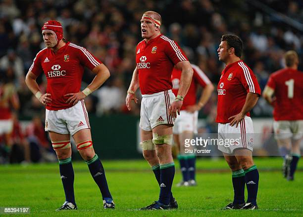 Lions forwards AlunWyn Jones Paul O'Connell and Lee Mears look on during the match between The Sharks and The British and Irish Lions at Absa Stadium...
