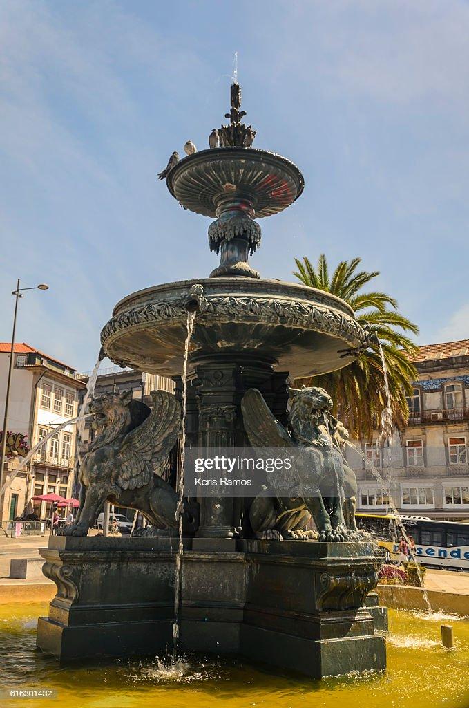 Lions fountain in Gomes Teixeira square in Porto, Portugal. : Stock Photo
