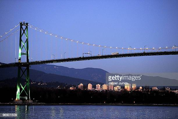 Lions' Gate Bridge is seen from a boat during day 8 of the Vancouver 2010 Winter Olympics on February 19 2010 in Vancouver Canada