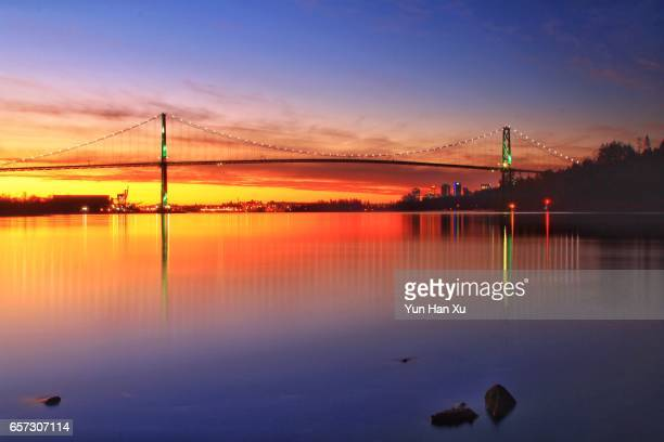 Lions Gate Bridge of Vancouver at Sunrise Time
