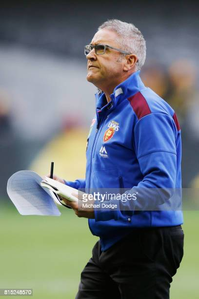 Lions head coach Chris Fagan at three quarter time during the round 17 AFL match between the Richmond Tigers and the Brisbane Lions at Etihad Stadium...
