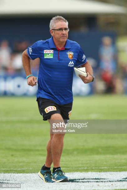 Lions head coach Chris Fagan comes from the fiel after threequarter time during the JLT Community Series AFL match between the Adelaide Crows and the...