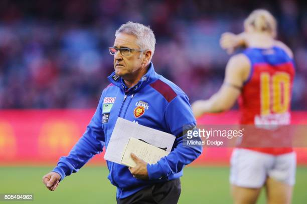Lions head coach Chris Fagan during the round 15 AFL match between the Essendon Bombers and the Brisbane Lions at Etihad Stadium on July 2 2017 in...
