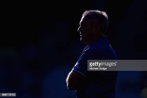 Lions head coach Chris Fagan looks upfield during the round 13 AFL match between the Port Adelaide Power and the Brisbane Lions at Adelaide Oval on...
