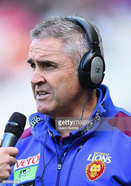 Lions head coach Chris Fagan talks to the media during the round 22 AFL match between the Melbourne Demons and the Brisbane Lions at Melbourne...