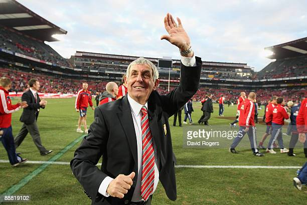 Lions' head coach Ian McGeechan celebrates after the Lions victory in the Third Test match between South Africa and the British and Irish Lions at...