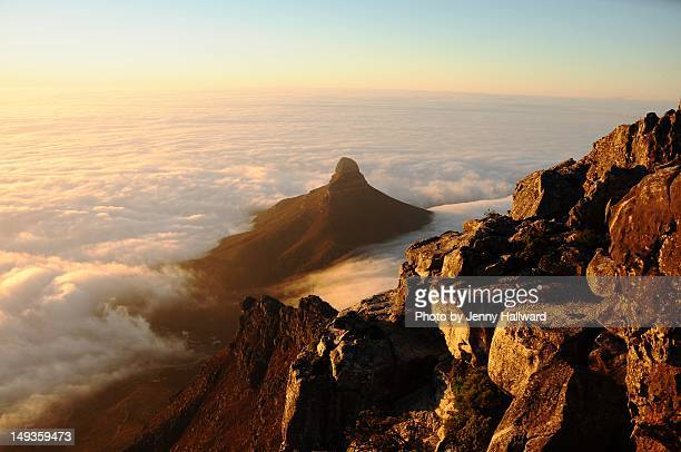 Lions Head in Cloud from top of Table Mountain