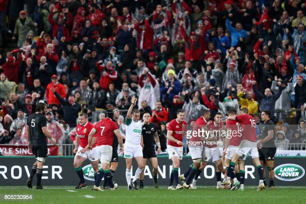 Lions players celebrate the try of Conor Murray during the International Test match between the New Zealand All Blacks and the British Irish Lions at...