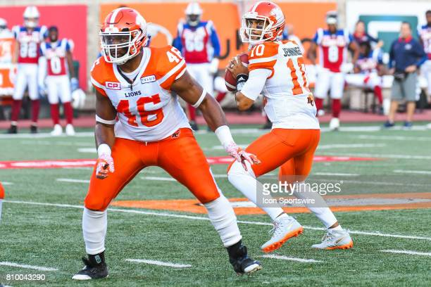 Lions quarterback Jonathon Jennings looking for a target to pass the ball during the BC Lions versus the Montreal Alouettes game on July 6 at...