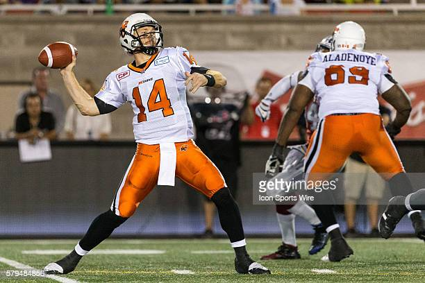Lions quarterback Travis Lulay throws the ball during a CFL game between the BC Lions and the Montreal Alouettes at the Percival Molson Stadium in...
