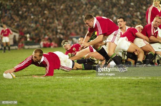 Lions scrum half Matt Dawson goes over the line to score during the Third Test Match between South Africa and British Lions at Ellis Park on July 5...