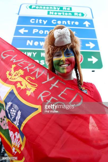 Lions suporters walk the fan trail to Eden Park before the first test match between the New Zealand All Blacks and the British Irish Lions at Eden...