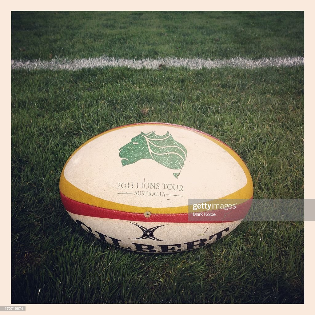 Lions Tour branded ball is seen pitch side during the match between Combined Country and the British & Irish Lions at Hunter Stadium on June 11, 2013 in Newcastle, Australia.