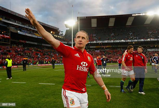 Lions try scorer Shane Williams waves to the crowd after the Third Test match between South Africa and The British and Irish Lions at Ellis Park...