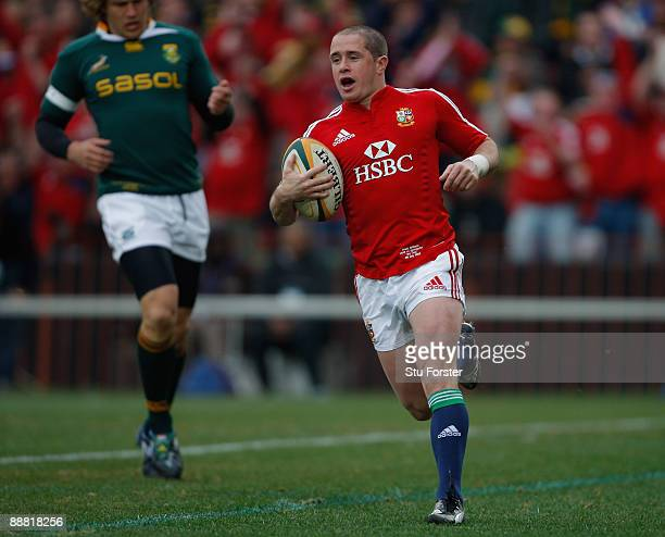 Lions winger Shane Williams crosses for the first try during the Third Test match between South Africa and The British and Irish Lions at Ellis Park...