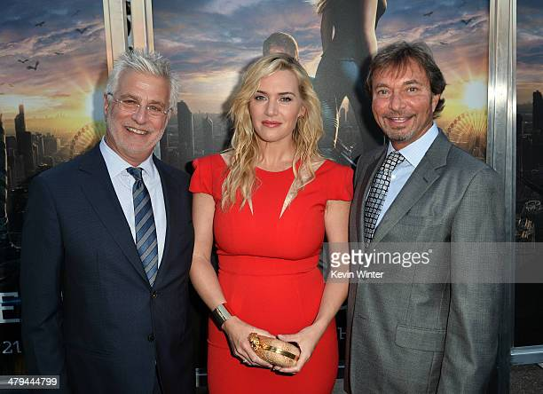 Lionsgate Motion Picture Group CoChairman Rob Friedman actress Kate Winslet and Lionsgate Motion Picture Group CoChairman Patrick Wachsberger arrive...