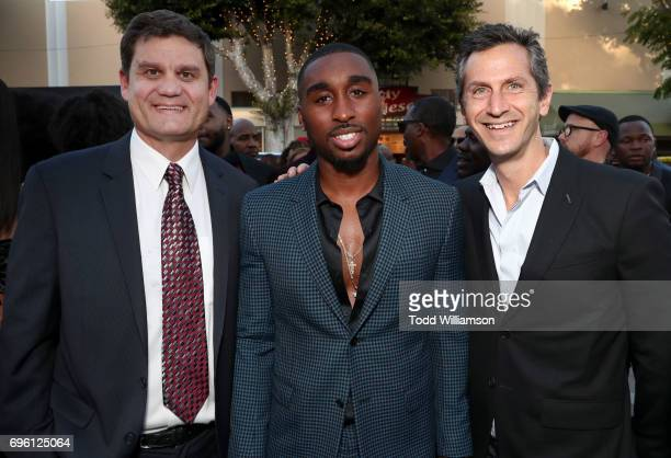Lionsgate President of Acquisitions CoProductions Jason Constantine actor Demetrius Shipp Jr and Lionsgate CoPresident Erik Feig at the 'ALL EYEZ ON...